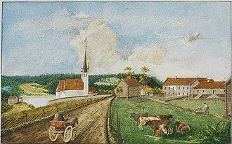 Jonas Danilssønn Ramus -  Nordrehaug i Ringeriget by Peter Andreas Brandt  (1792-1862