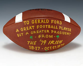 1979 Notre Dame Fighting Irish football team - A football gifted by the Notre Dame Fighting Irish football team to President Gerald Ford, commemorating their 18-17 victory over South Carolina on October 27.