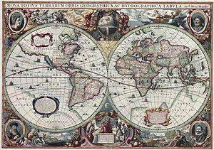 Henricus Hondius II - Image: Nova totius Terrarum Orbis geographica ac hydrographica tabula (Hendrik Hondius) balanced