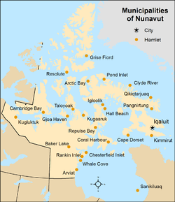 Map showing locations of all municipalities of Nunavut