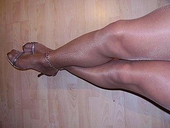 woman wearing silky nylon-stockings