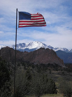 U.S. Flag, Pikes Peak, and the Garden of the G...