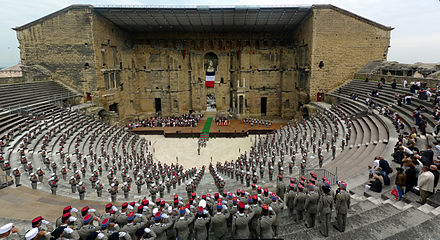 Commemoration of the Battle of Camaron by the 1st Foreign Cavalry Regiment at the Roman Theatre of Orange. ORANGE Camerone2010.jpg