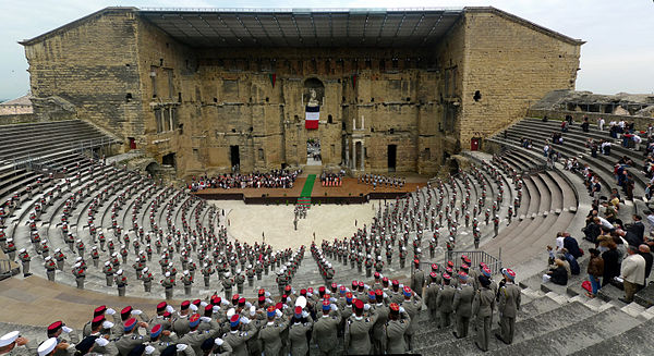 Commemoration of the Battle of Camarón by the 1st Foreign Cavalry Regiment at the Roman Theatre of Orange. - French Foreign Legion