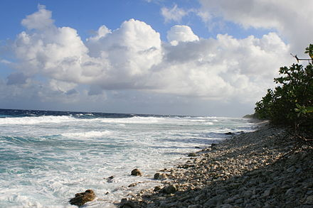Ocean side of Funafuti atoll showing the storm dunes, the highest point on the atoll. Ocean side Funafuti.jpg