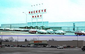 Big Lots - Big Lots Store No. 1, Berwick Plaza Shopping Center, Columbus, Ohio (Before and after); The first store in the Big Lots chain was located in the former Kroger store in the same shopping center. The store was later relocated to the former Buckeye Mart/Sarco building also pictured.