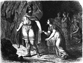 Óðr - Óðr again leaves the grieving Freyja in Odur verläßt abermals die trauernde Gattin (1882), Carl Emil Doepler 'The Elder'.