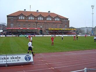 Østerbro Stadium - Idrætshuset and the secondary stand.