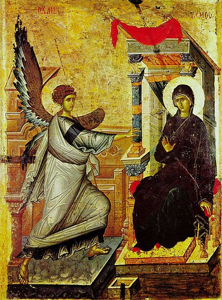 A key piece of Palaiologan-era mannerism - the Annunciation icon from Ohrid in North Macedonia. Ohrid annunciation icon.jpg