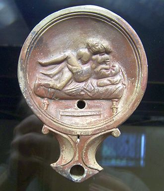 Male-female couple on an oil lamp (Romisch-Germanisches Museum) Oil lamp with couple performing Sex at the Romisch-Germanisches Museum Cologne.jpg
