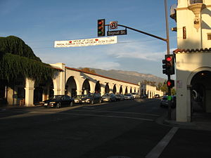 Ojai, California - Ojai Arcade, built in 1917 in the Spanish Colonial Revival style. Post Office tower at right.