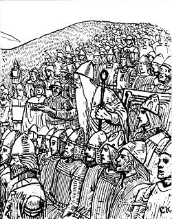 Þorgnýr the Lawspeaker is teaching the Swedish king Olof Skötkonung that the power resides with the people, 1018, Uppsala, by C. Krogh