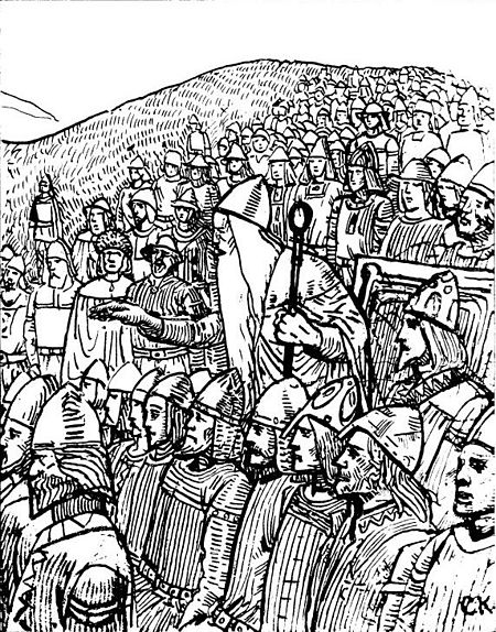 Thorgnyr the Lawspeaker showing the power of his office to the King of Sweden at Gamla Uppsala, 1018. The lawspeaker forced King Olof Skotkonung not only to accept peace with his enemy, King Olaf the Stout of Norway, but also to give his daughter to him in marriage. Illustration by C. Krogh. Olav den helliges saga CK5.jpg