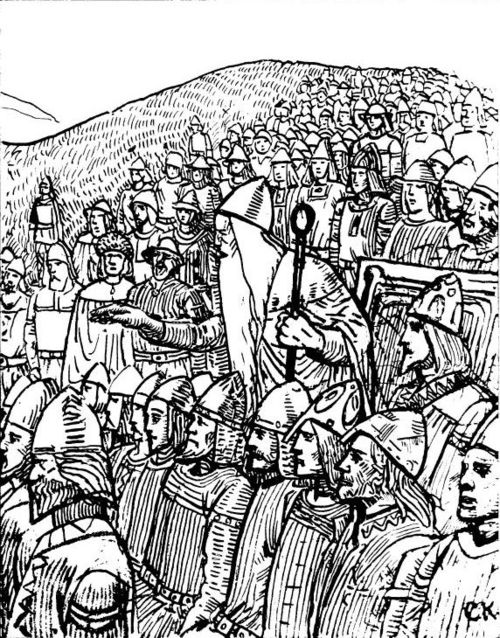 Torgny the Lawspeaker showing the power of his office to the king of Sweden at Gamla Uppsala, 1018. The lawspeaker forced king Olof Skotkonung not only to accept peace with his enemy, king Olaf the Stout of Norway, but also to give his daughter to him in marriage. Illustration by C. Krogh. Olav den helliges saga CK5.jpg