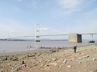 Die Severn Bridge an der Grenze zwischen England und Wales, von der englischen Seite aus gesehen.