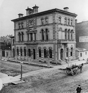 Ontario Bank - An Ontario Bank branch at Wellington and Scott Streets in Toronto, 1868