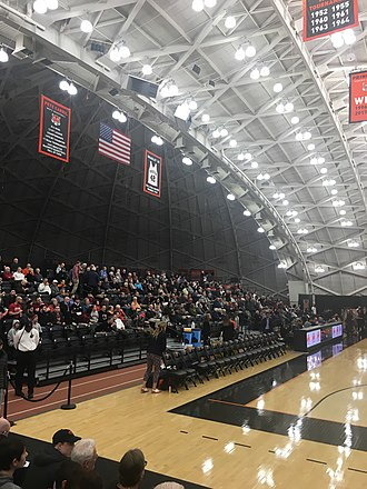 Pete Carril - Princeton's Jadwin Gymnasium features a banner (upper left) celebrating the coaching accomplishments of Pete Carril