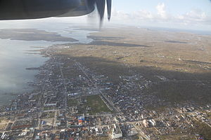Typhoon Haiyan - An aerial view of Guiuan, the town where the typhoon made its first landfall