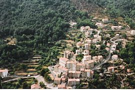 An overhead view of the village