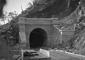 Otira Tunnel - Otira Tunnel during construction, ca 1910
