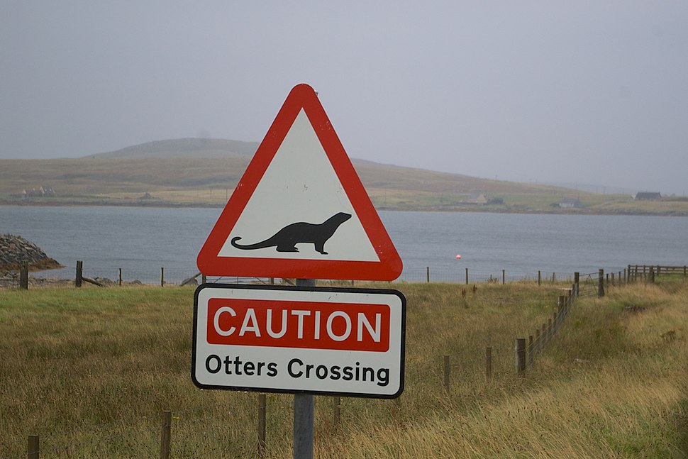 Otters Crossing sign at Benbecula
