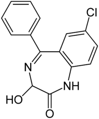 Kekulé, skeletal formula of a minor tautomer of oxazepam