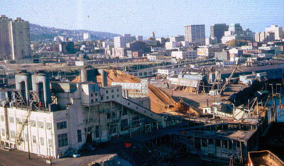 1966 photo shows sawdust-fired power plant on the edge of downtown that was removed to make way for dense residential development. High rises to left in background were early projects of the Portland Development Commission PDX1966PGEplant.jpg