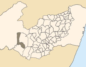 Tupanatinga - Location of Tupanatinga within Pernambuco.