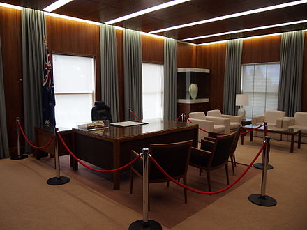 The Prime Minister's Office at Old Parliament House, Canberra, preserved as it appeared during Hawke's prime ministership; he was the last prime minister to work there before the opening of the new building in 1988. PMs office at Old Parliament House December 2012.jpg