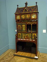 Painted bookcase 1 - Manchester City Art Gallery