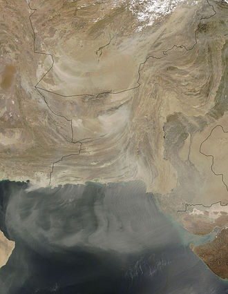 Geography of Pakistan - Dust storm over Pakistan and surrounding countries, April 7, 2005