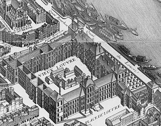 Académie royale d'architecture - Image: Palais du Louvre on the map of Turgot 1739 Kyoto U