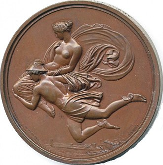 Pandora - Hermes carrying Pandora down from Mount Olympus, a medal based on a design by John Flaxman