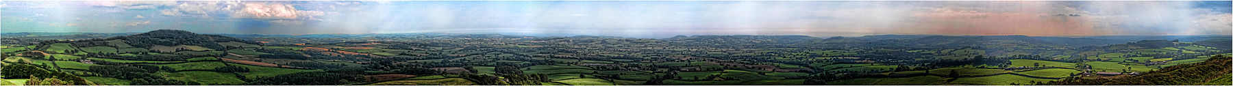Panoramic view from Pilsdon Pen. Dorset