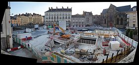Le chantier de la future station sur la place Saint-Germain en août 2015.