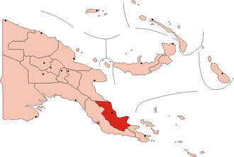 Oro Bay - The red area is Oro Province. Oro Bay is the large indentation in the red area, to the SE of the black dot, which represents Popondetta, the provincial capital.