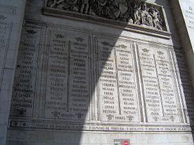 Paris Arc de Triomphe inscriptions 7