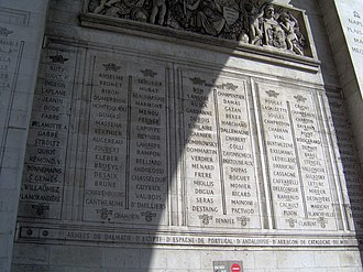 Names inscribed under the Arc de Triomphe - Image: Paris Arc de Triomphe inscriptions 7