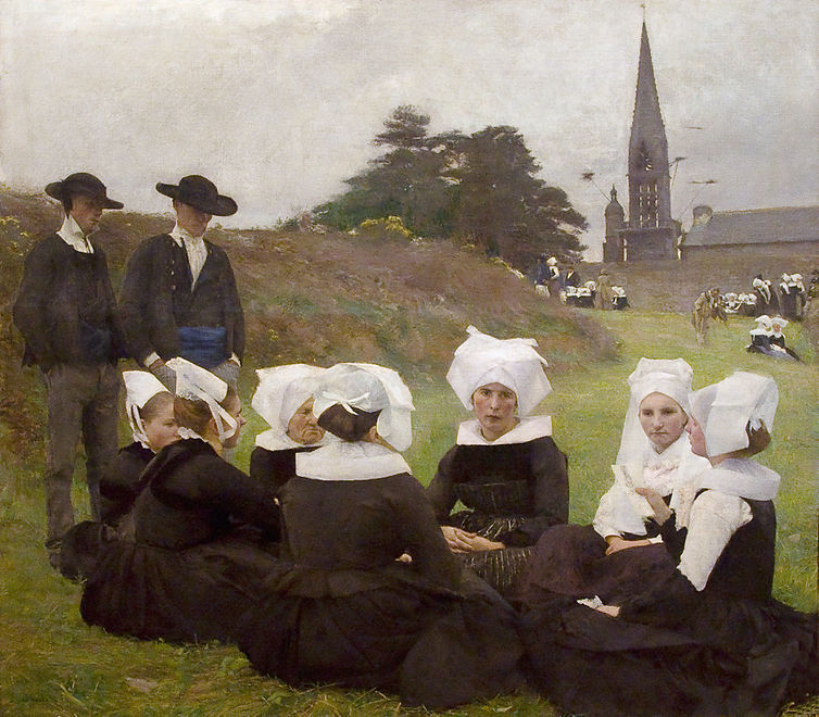 "A painting  by Pascal Dagnan-Bouveret (1852-1929)  entitled ""Les Bretonnes au pardon"" which relates to the Rumengol pardon."
