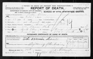 1896 Eastern North America heat wave - Peder Matthias Olsen (1849-1896) death certificate during the 1896 Eastern North America heat wave