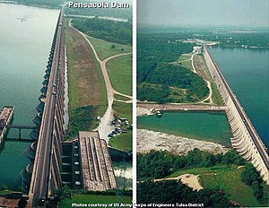 Pensacola Dam on the Neosho River in-between Disney and Langley on Oklahoma State Highway 28, creating Grand Lake o' the Cherokees.