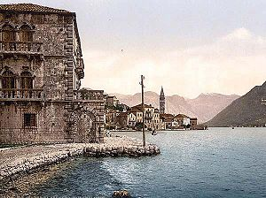 Postcard showing the Venetian architecture of Perasto in 1900