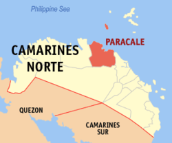 Map of Camarines Norte showing the location of Paracale