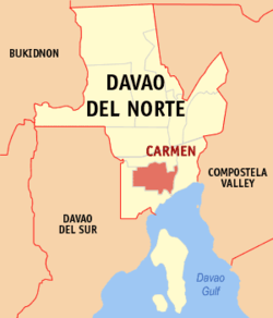 Map of Davao del Norte showing the location of Carmen