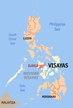 Map of the Philippines with Iloilo highlighted