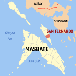 Map of Masbate with San Fernando highlighted