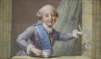 """Philippe, Duke of Anjou - """"Prince Philippe blowing bubbles"""": a depiction of Philippe on a snuffbox in the Walters Museum"""