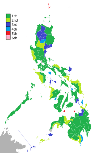 Sangguniang Panlalawigan - Provinces based on number of regular Sangguniang Panlalawigan seats: greens at least 10, blues 8, and reds 6.
