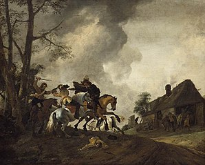 Cavalry Skirmish by a Farmhouse