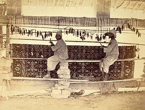 Pakistani rug - Photograph of Carpet Weavers in Karachi Jail - 1873